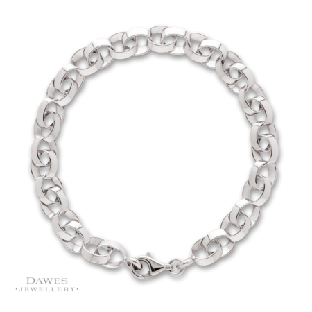 Fancy Double Link Silver Bracelet 19cm