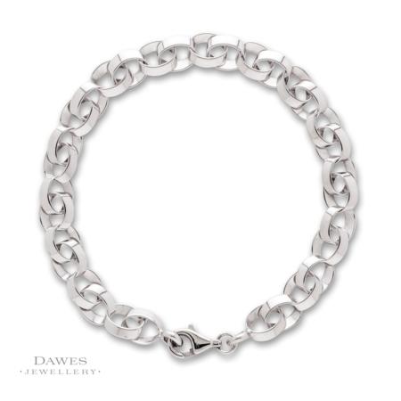 Fancy Double Link Silver Bracelet 19cm
