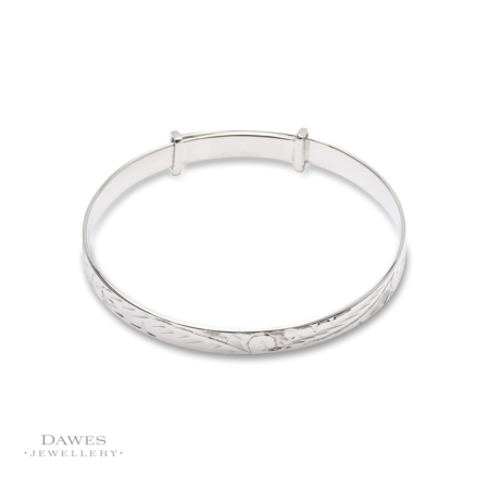 Silver Patterned Expanding Baby Bangle