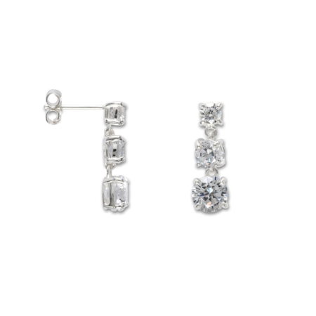 Silver Cubic Zirconia Three Stone Drop Earrings