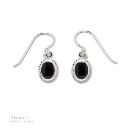 Sterling Silver Oval Onyx Drop Earrings