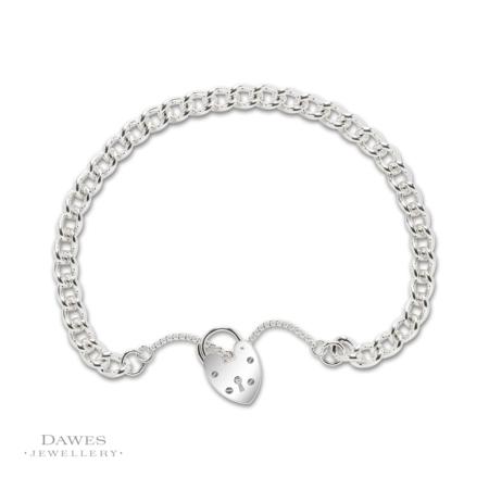 Sterling Silver Single Curb Charm Bracelet