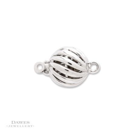 9ct White Gold 8mm Fluted Ball Clasp