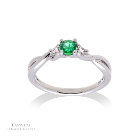 9ct White Gold Emerald & Diamond Three Stone Ring