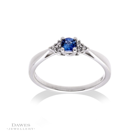 9ct White Gold Sapphire and Trefoil Diamond Ring