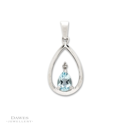 Sterling-Silver Blue Topaz and Diamond Pendant