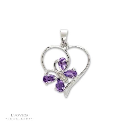 Silver Amethyst & Diamond Butterfly Pendant
