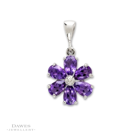 Sterling Silver Amethyst and Diamond Flower Pendant