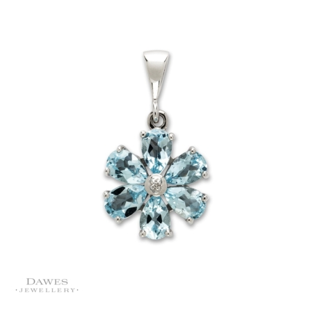 Sterling Silver Blue Topaz Diamond Flower Pendant