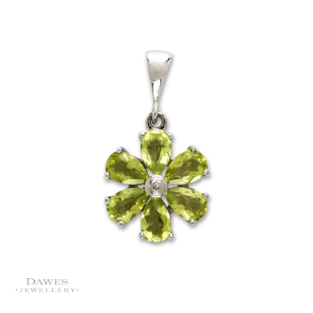 Sterling Silver Peridot and Diamond Flower Pendant