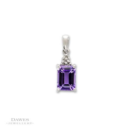 Sterling Silver Amethyst and Diamond Pendant