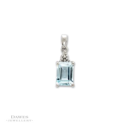 sterling Silver Blue Topaz and Diamond Pendant