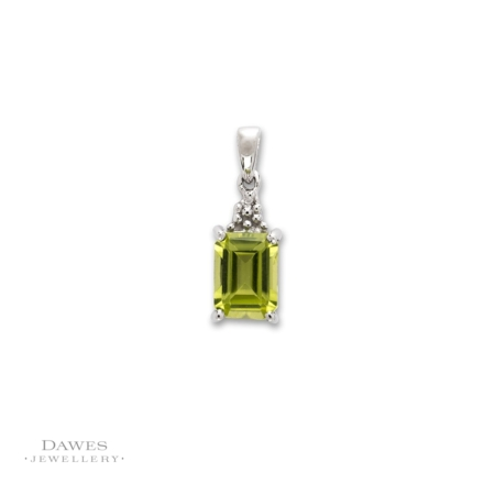 Sterling Silver Peridot and Diamond Pendant