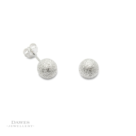 Silver Glitter Snowball Stud Earrings