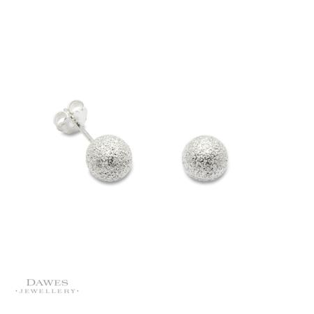 Silver Glitter Snowball Stud Earrings