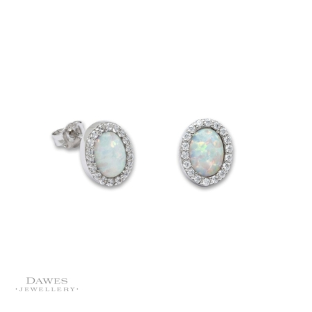 Silver Opal and Cubic Zirconia Stud Earrings
