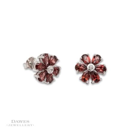 Silver Garnet and Diamond Flower Earrings