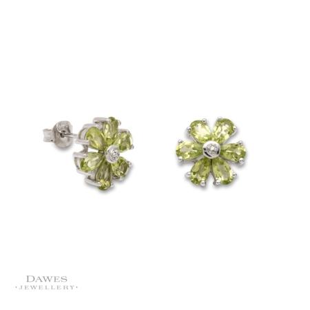 Silver Peridot and Diamond Flower Earrings