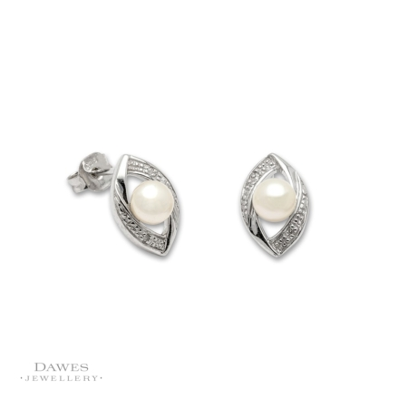 Silver Pearl and Diamond Stud Earrings