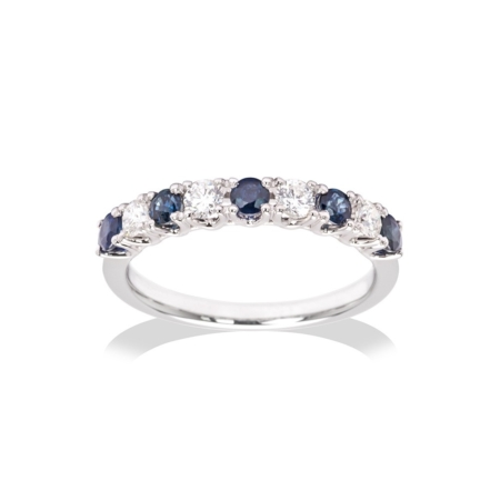 White Gold Sapphire & Diamond Half Eternity Ring
