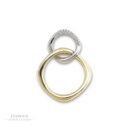 9ct Yellow and White Gold Diamond Pendant