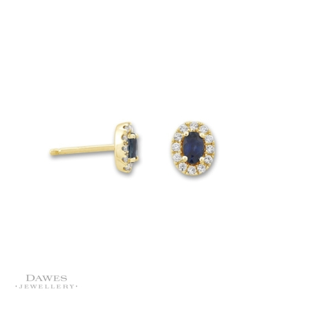 9ct Yellow Gold Sapphire Diamond Cluster Earrings
