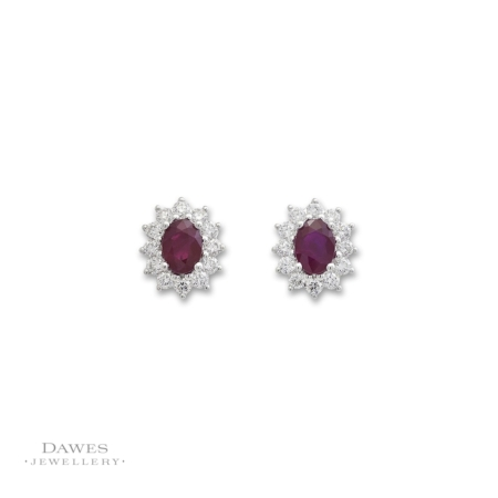 18ct White Gold Ruby and Diamond Earrings