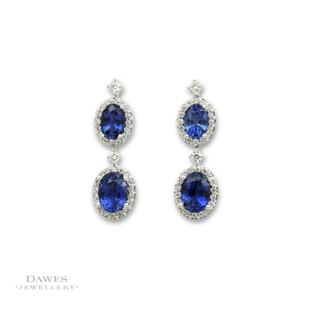 18ct White Gold Sapphire And Diamond Drop Earrings