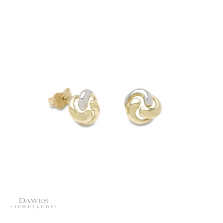 9ct Gold Fancy Two Colour Stud Earrings