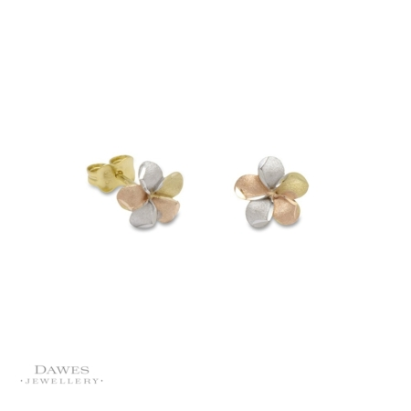 9ct Three Colour Gold Flower Stud Earrings