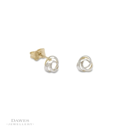 9ct Gold Two Colour Fancy Stud Earrings