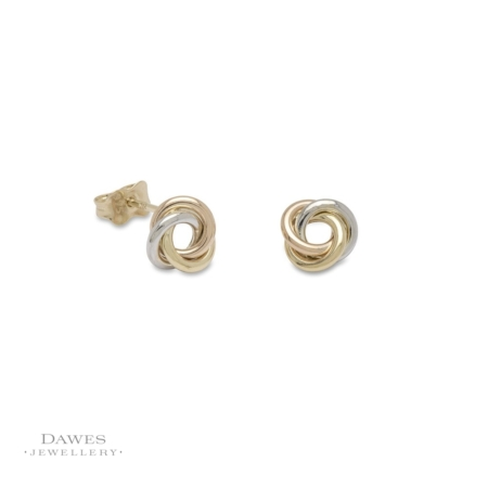 9ct Gold Three Colour Knot Stud Earrings