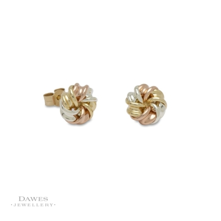 9ct Gold Fancy Three Colour Knot Stud Earrings