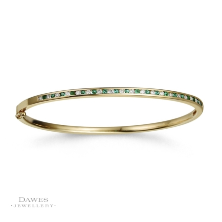 9ct Yellow Gold Emerald Diamond Bangle