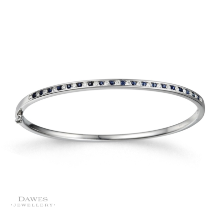 9ct White Gold Sapphire & Diamond Bangle