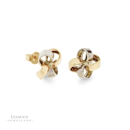 9ct Two Colour Ribbon Knot Stud Earrings