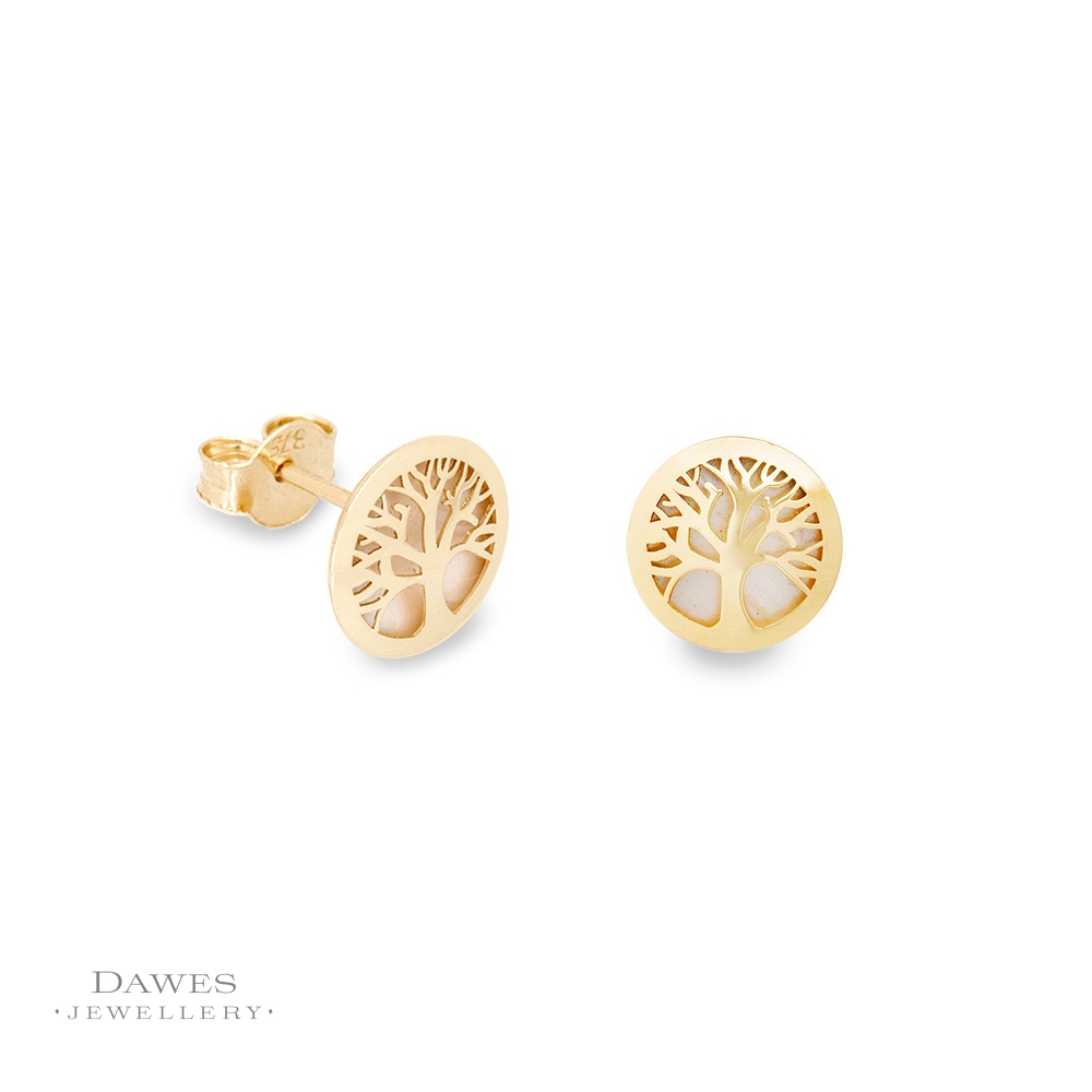 293437670 9ct Yellow Gold Tree Of Life Stud Earrings - Dawes Jewellery