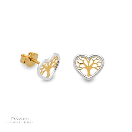 9ct Two Colour Gold Tree Of Life Stud Earrings