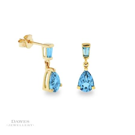 9ct Yellow Gold Blue Topaz Drop Earrings
