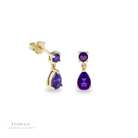 9ct Gold Amethyst Drop Earrings