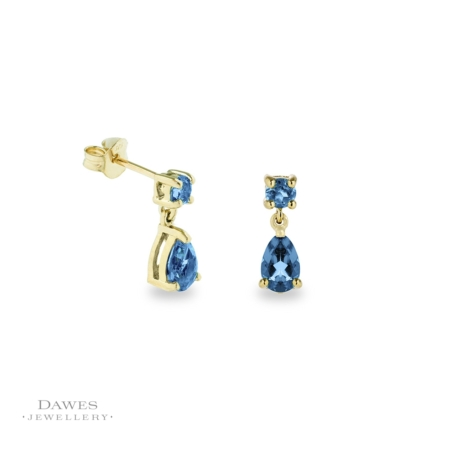 9ct Gold Blue Topaz Drop Earrings