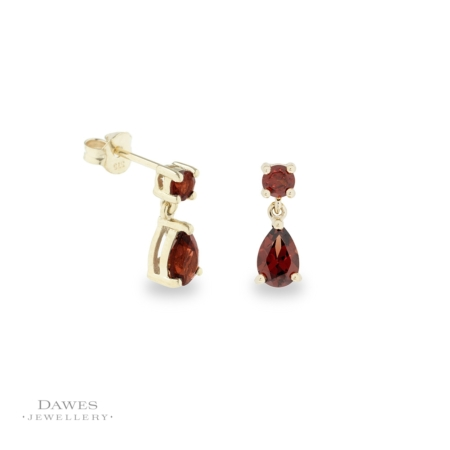 9ct Gold Garnet Drop Earrings