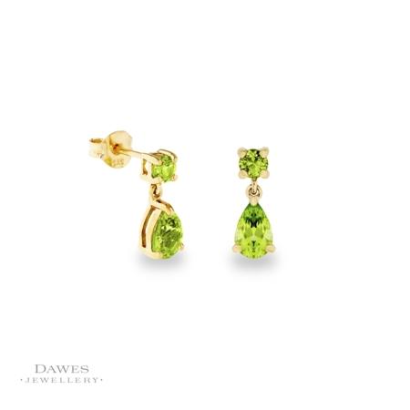 9ct Gold Peridot Drop Earrings