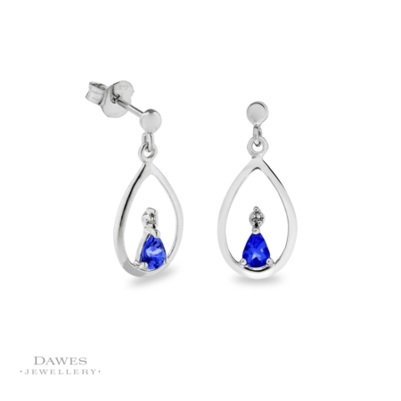 9ct White Gold Tanzanite & Diamond Drop Earrings