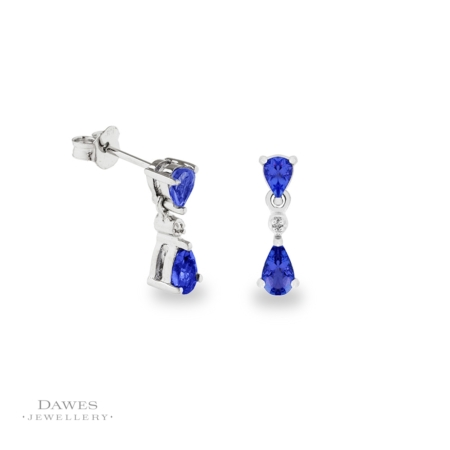 9ct White Gold Tanzanite and Diamond Drop Earrings