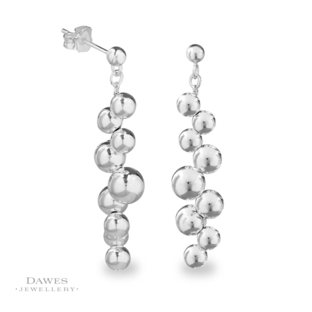 Silver Multi Ball Drop Earrings