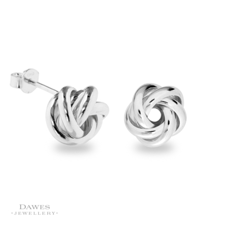 Fancy Silver Knot Stud Earrings