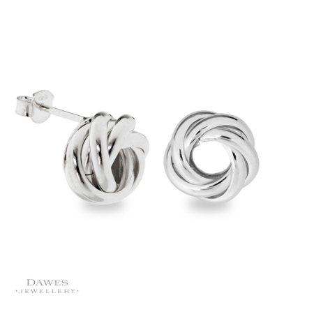 Large Silver Fancy Knot Stud Earrings