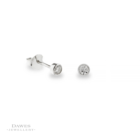 Silver Ice White Cubic Zirconia Stud Earrings 3mm