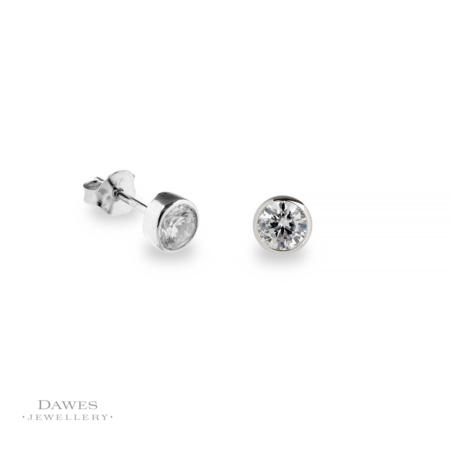 Silver Ice White Cubic Zirconia Stud Earrings 5mm